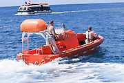 Abandon Ship Drill. Lifeboat. This vessel, for use in an emergency if the crew and passengers have to abandon ship, is lowered to the surface of the sea The passengers and crew than enter the lifeboat or raft. This is a drill to test the crew's response to such a situation