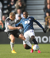 Blackburn Rovers Amari'i Bell battles with  Derby County's Martyn Waghorn<br /> <br /> Photographer Mick Walker/CameraSport<br /> <br /> The EFL Sky Bet Championship - Derby County v Blackburn Rovers - Sunday 8th March 2020  - Pride Park - Derby<br /> <br /> World Copyright © 2020 CameraSport. All rights reserved. 43 Linden Ave. Countesthorpe. Leicester. England. LE8 5PG - Tel: +44 (0) 116 277 4147 - admin@camerasport.com - www.camerasport.com