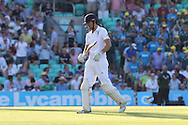 Captain Alastair Cook of England out for 85 during the third day of the 5th Investec Ashes Test match between England and Australia at The Oval, London, United Kingdom on 22 August 2015. Photo by Ellie Hoad.