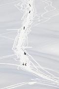 Snowshoers hike a popular route near Paradise in Mount Rainier National Park, Washington.