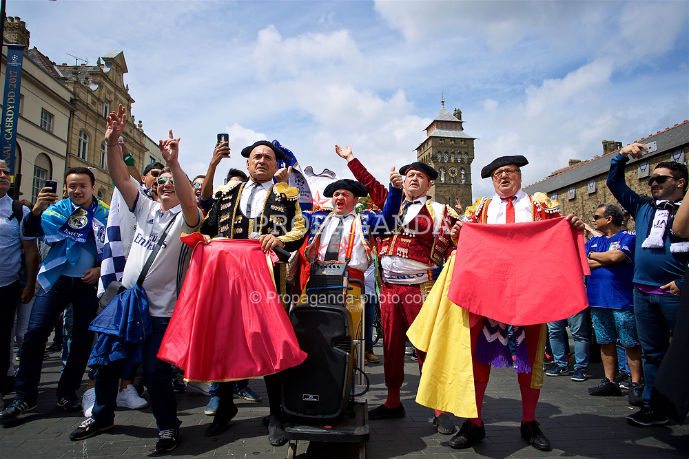 CARDIFF, WALES - Saturday, June 3, 2017: A Real Madrid supporters dressed a matadors outside Cardiff Castle before the UEFA Champions League Final between Juventus FC and Real Madrid CF at the Stadium of Wales. (Pic by David Rawcliffe/Propaganda)