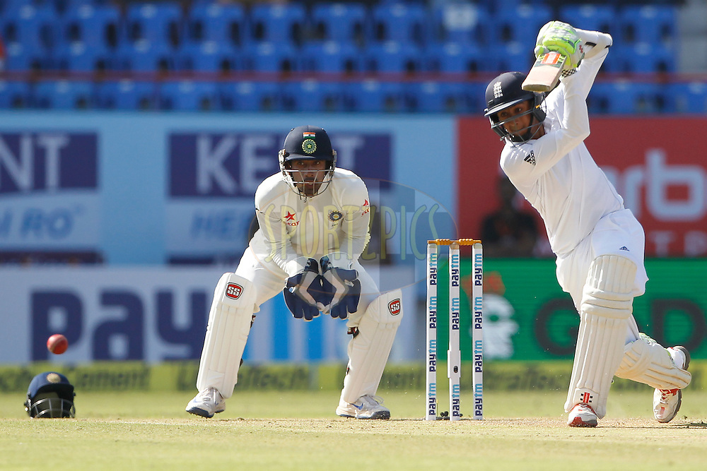 Haseeb Hameed of England plays a shot during day 1 of the first test match between India and England held at the Saurashtra Cricket Association Stadium in Rajkot on 9th November 2016.<br /> <br /> Photo by: Deepak Malik/ BCCI/ SPORTZPICS