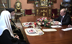 May 24, 2017 - Moscow, Russia - May 24, 2017. - Russia, Moscow. - Russian President Vladimir Putin (right), Pope Tawadros II of Alexandria (2nd left) and Patriarch Kirill of Moscow and All Russia during their meeting. (Credit Image: © Russian Look via ZUMA Wire)