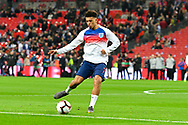Jadon Sancho of England warming up before the UEFA European 2020 Qualifier match between England and Czech Republic at Wembley Stadium, London, England on 22 March 2019.