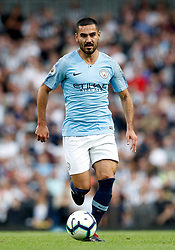 """Manchester City's Ilkay Gundogan during the Premier League match at the Etihad Stadium, Manchester. PRESS ASSOCIATION Photo. Picture date: Saturday September 1, 2018. See PA story SOCCER Man City. Photo credit should read: Martin Rickett/PA Wire. RESTRICTIONS: EDITORIAL USE ONLY No use with unauthorised audio, video, data, fixture lists, club/league logos or """"live"""" services. Online in-match use limited to 120 images, no video emulation. No use in betting, games or single club/league/player publications."""