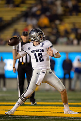 Nevada quarterback Carson Strong (12) drops to pass against California during the second quarter of an NCAA college football game, Saturday, Sept. 4, 2021, in Berkeley, Calif. (AP Photo/D. Ross Cameron)