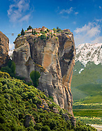 Medieval Meteora  Monastery of The Holy Trinity on top of a rock pillar in the Meteora Mountains, Thessaly, Greece