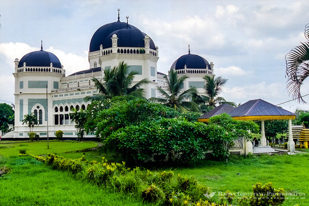 Indonesia, Sumatra. Medan. The Great Mosque (Masjid Raya) of Medan built in 1906 in Moroccan style.