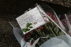 © Licensed to London News Pictures. 26/07/2015. London, UK. Floral tributes outside Clewer House in Wolvercote Road in Bexley, south east London. A teenager has died after a party in Clewer House, Wolvercote Road where he was believed to have taken laughing gas (nitrous oxide). Photo credit : Vickie Flores/LNP