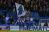 Omar Bogle of Cardiff city (30) celebrates with teammates after he scores his teams 2nd goal. EFL Skybet championship match, Cardiff city v Ipswich Town at the Cardiff city stadium in Cardiff, South Wales on Tuesday 31st October 2017.<br /> pic by Andrew Orchard, Andrew Orchard sports photography.