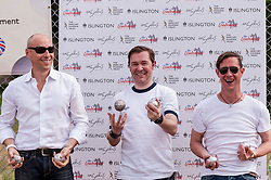 """© Licensed to London News Pictures. 05/06/2015.   London, UK. Members of the Universal Music team celebrate winning the Londonaise 'Celebrity Pétanque Trophy', as media and guests take part in """"Freddie for the Day"""", by playing a special game of celebrity Pétanque, ahead of The Londonaise Pétanque festival this weekend in Barnard Park, Islington.  The festival will set a new precedent in the UK with 128 teams taking part in the main tournament.  The event also aims to raise funds for the Mercury Phoenix Trust to fight against AIDS worldwide.. Photo credit : Stephen Chung/LNP"""