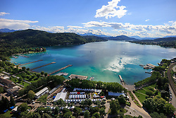 24.06.2015, Metnitzstrand, Klagenfurt am Wörthersee, AUT, Ironman Austria 2015, Vorberichte, im Bild Luftbild vom Wörthersee, Übersicht auf das Startgelände zum Ironman // Airpicture, overview of the lake Woerther lake and the start area during preperation the 2015 Ironman Austria at the Metnitzstrand, Klagenfurt, Austria on 2015/06/24. EXPA Pictures © 2015, PhotoCredit: EXPA/ Gert Steinthaler