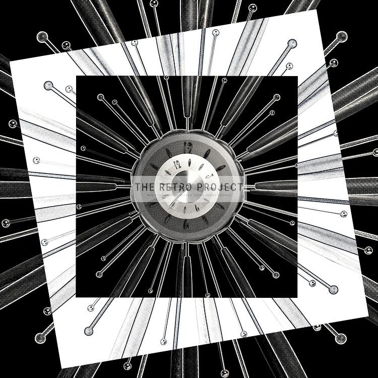Retro Starburst Wall Clock Monochome Photo Illustration with dot overlay