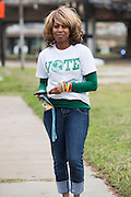 """Judy Wiley voted for Hilary Clinton today because she wants to """"see what a woman can do as President of the United States"""" in Dallas, Texas on November 8, 2016. (Cooper Neill for The Texas Tribune)"""
