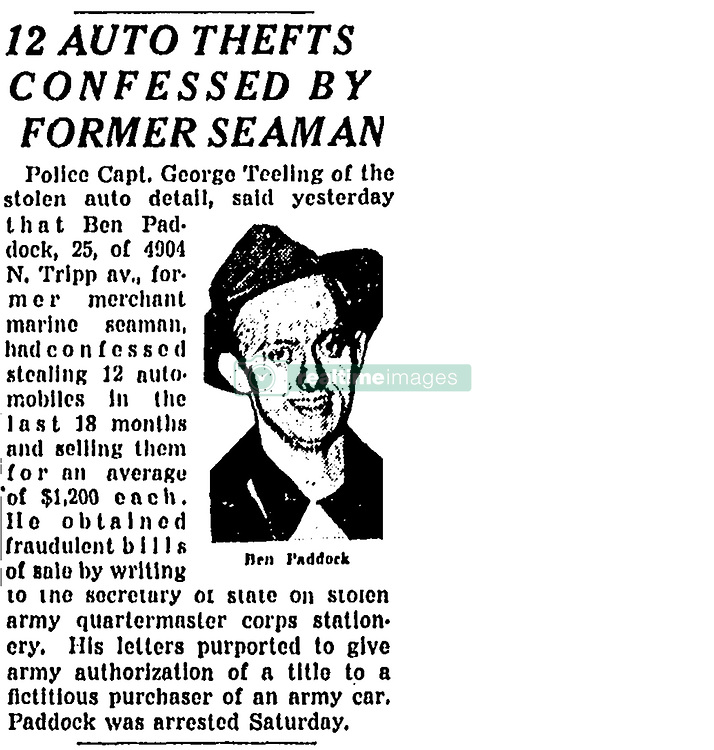 October 3, 2017 - Chicago, IL, USA - An article in the Chicago Tribune on January 8, 1946, on Page 5 is headlined ''12 AUTO THEFTS CONFESSED BY FORMER SEAMAN.'' The article said that Ben Paddock had confessed to stealing 12 automobiles. Paddock, aka Benjamin Hoskins Paddock, is the father of Stephen Paddock, who shot dead 59 people and injured 527 others from a Mandalay Bay hotel room in Las Vegas in 2017. (Credit Image: © Chicago Tribune/TNS via ZUMA Wire)