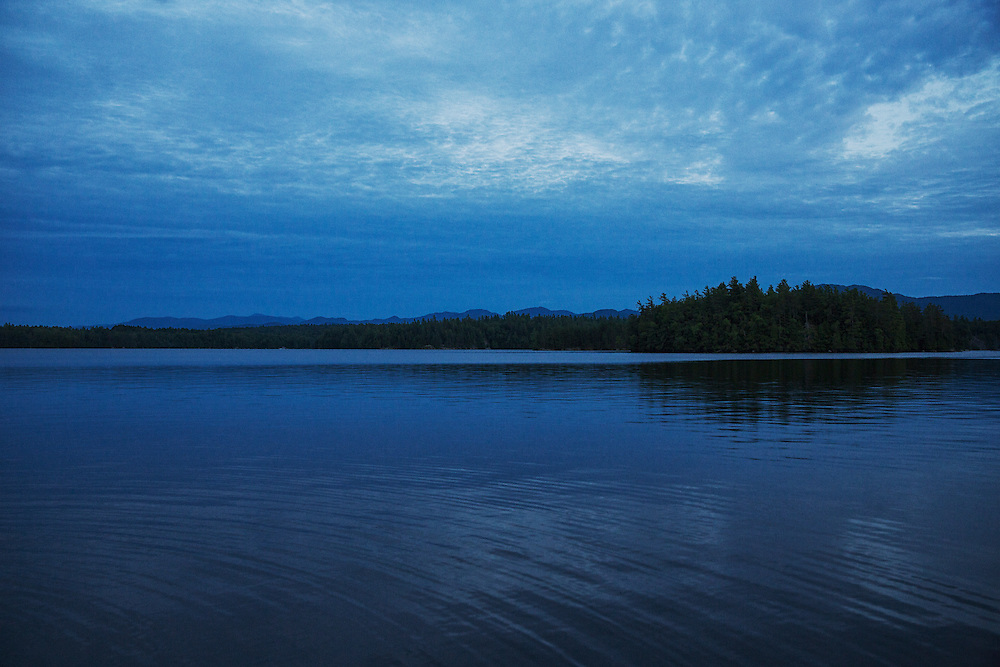 The Great Range from Lower Saranac Lake at twilight