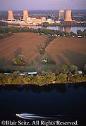 PA Landscapes, Aerial Photograph, Susquehanna River, Three Mile Island Nuclear Plant, TMI, Dauphin Co., Pennsylvania