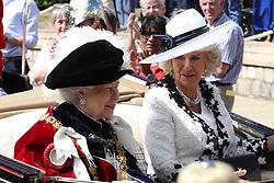 June 18, 2018 - Windsor, United Kingdom - QUEEN ELIZABETH II and CAMILLA, Duchess of Cornwall,  leaving the Order of the Garter service at St.George's Chapel, Windsor Castle, United Kingdom. (Credit Image: © Stephen Lock/i-Images via ZUMA Press)