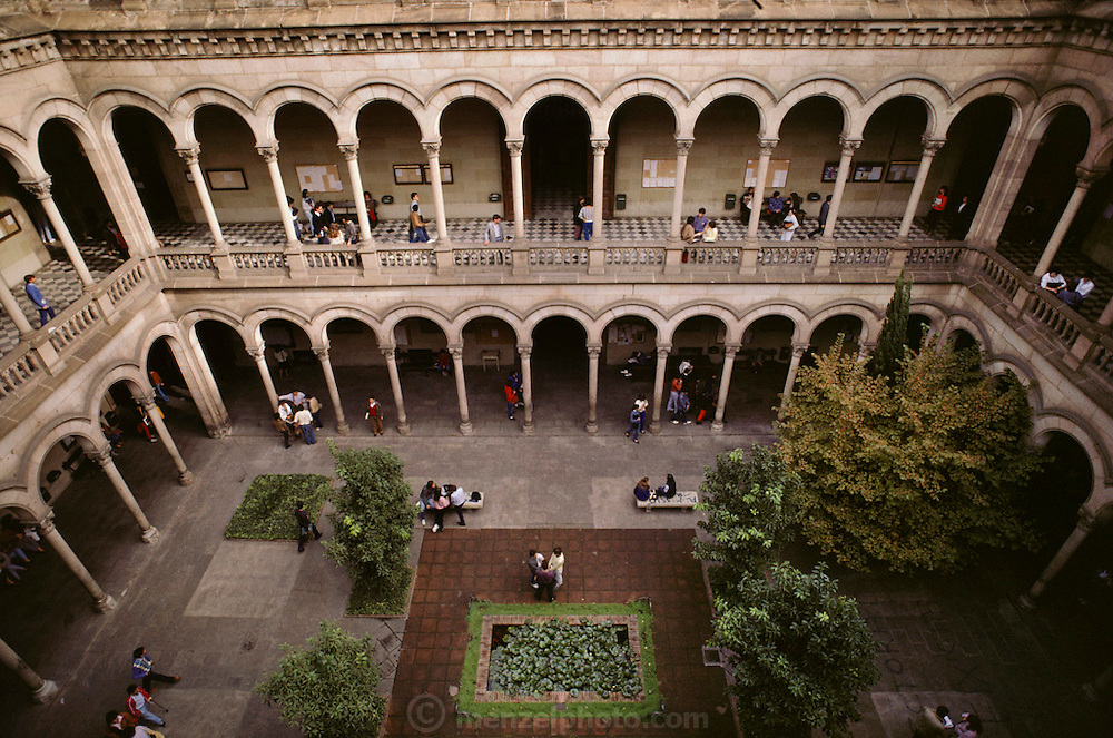 Interior courtyard of the University of Barcelona, Barcelona, Spain.