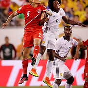 EAST RUTHERFORD, NEW JERSEY - JUNE 17:  Jose Paolo Guerrero #9 of Peru is challenged by Carlos Sanchez #6 of Colombia during the Colombia Vs Peru Quarterfinal match of the Copa America Centenario USA 2016 Tournament at MetLife Stadium on June 17, 2016 in East Rutherford, New Jersey. (Photo by Tim Clayton/Corbis via Getty Images)