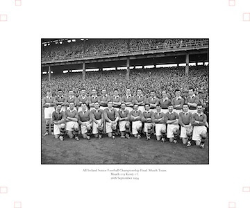 All Ireland Senior Football Championship Final, Kerry v Meath, 26091954AISFCF, Meath 1-13 Kerry 1-7, 26.09.1954, 09.26.1954, 26th September 1954,.Meath Team:.Front Row (from left) Patsy Ratty, Jim Reilly, Kevin Lenehan, M O'Brien, Matthem McDonnell, X Dermott, Paddy M, Patsy McGearty, Billie Rattigan, Larry O'Brien, John Clarke, Miceal O'Brien. Back Row (from left) X Brady, Edward Durnin, Richard M, Jim Farrell, Brian Smith, Kevin Mc Connell, Thomas Moriarty, X Flanagan, Frankie Byrne, Gerard Smith, X O'Brien. .
