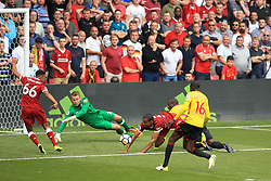 12 August 2017 -  Premier League - Watford v Liverpool - Liverpool fail to deal with a loose ball resulting in the 2nd Watford goal - Photo: Marc Atkins / Offside.