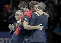 Tennis - 2019 Nitto ATP Finals at The O2 - Day Eight<br /> <br /> Doubles Final : Pierre-Hugues Herbert (FRA) & Nicolas Mahut (FRA) Vs. Raven Klaasen (RSA) & Michael Venus (NZL)<br /> <br /> Nicolas Mahut (FRA) gives ATP Chair Chris Kermode a hug after their victory <br /> <br /> COLORSPORT/DANIEL BEARHAM