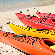 Colorful sea kayaks on the beach at Cruz Bay on St. John in the US Virgin Islands.