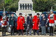 Tpr Oliver Wain, 24, Rick Forest, 89 D-day, Reginald Widerspoon, 90, Charles Jeffries, 93 D-day/Dessert Rat, John Cuthbert, 92, Peter Kent, 90 Royal Navy, Tpr Joel Robinson, 20 - Second World War Veterans, Reg Wilderspin (89) and John Cuthbert (92), and serving Guardsmen on Horse Guards Parade Ground to highlight Royal British Legion events on Victory in Europe (VE) Day. The Legion is also announcing that veterans and their carers will receive funding towards attending the event on the weekend of the 8-10th May.<br /> <br /> Places will be available for a series of commemorative events over the weekend including on VE Day itself, Friday 8 May, when a Service of Remembrance will be held at The Cenotaph, with a national two minute silence at 3pm. On Sunday 10 May, there will a Service of Thanksgiving at 11am at Westminster Abbey attended by HM The Queen, followed by a parade from the Abbey to Horse Guards Parade and into St James's Park, where the Legion will host a lunch reception for the veterans.