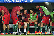Portugal Forward Cristiano Ronaldo on the bench during the Euro 2016 final between Portugal and France at Stade de France, Saint-Denis, Paris, France on 10 July 2016. Photo by Phil Duncan.