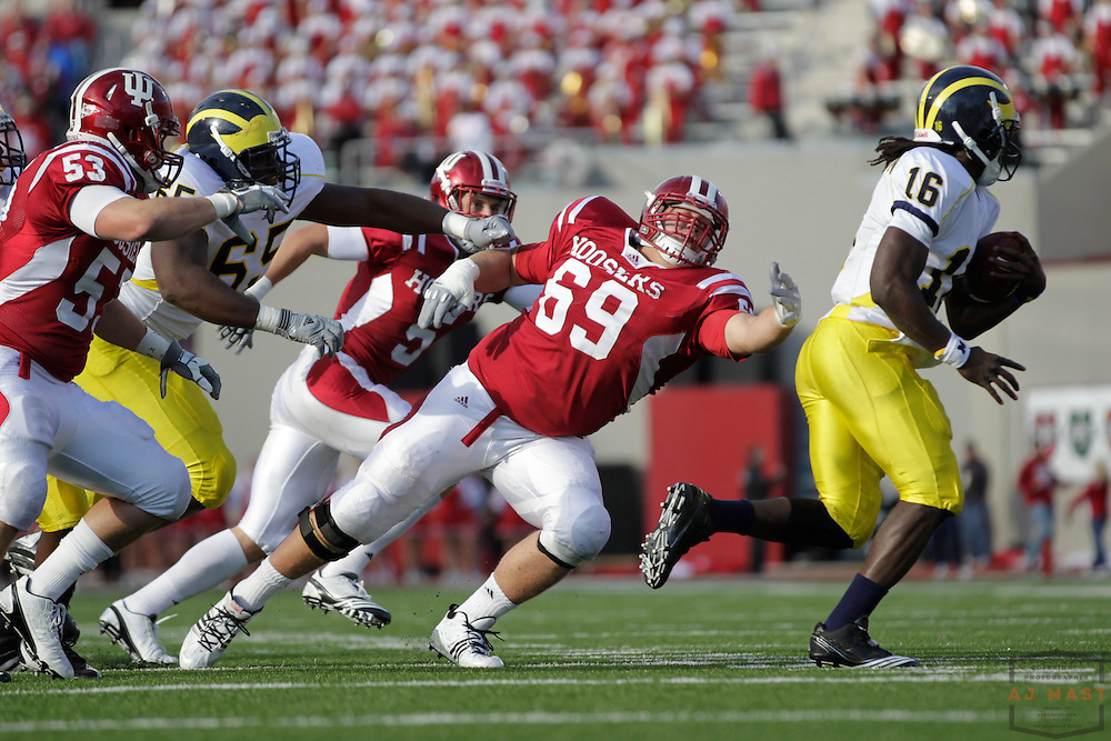 02 October 2010: Indiana Hoosiers defensive tackle Mick Mentzer (69) as the Indiana Hoosiers played the Michigan Wolverines in a college football game in Bloomington, Ind.