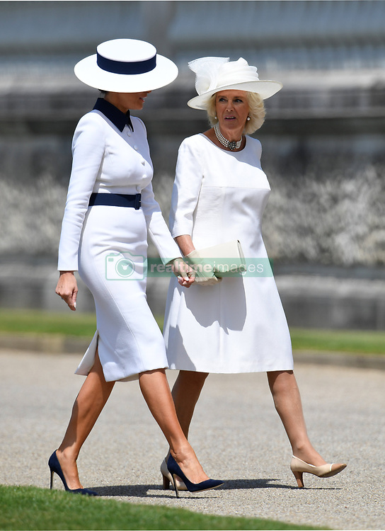 The Duchess of Cornwall (right) meets Melania Trump, after she arrived in Marine One with US President Donald Trump, at Buckingham Palace, in London on day one of his three day state visit to the UK.
