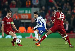 March 6, 2018 - Liverpool, U.S. - 6th March 2018, Anfield, Liverpool, England; UEFA Champions League football, round of 16, 2nd leg, Liverpool versus FC Porto; Almeida Costa of Porto threads the ball between Jordan Henderson and Joe Gomez of Liverpool   (Photo by Dave Blunsden/Actionplus/Icon Sportswire) ****NO AGENTS---NORTH AND SOUTH AMERICA SALES ONLY****NO AGENTS---NORTH AND SOUTH AMERICA SALES ONLY* (Credit Image: © Dave Blunsden/Icon SMI via ZUMA Press)