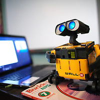 050714       Adron Gardner<br /> <br /> WALL-E the robot warms up for a demonstration for Tsehootsooi Middle School students in Ms. White's class in Fort Defiance Wednesday.  WALL-E and a robot kit was donated to the students by Team 4118 Robotics in Florida.
