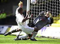 Photo. Richard Page<br />Watford v Millwall. Nationwide Division One. 13/09/2003.<br />Bruce Dyer blasts Watford's first goal past Tony Warner.