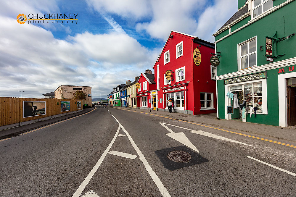 Colorful shops line the streets of Dingle, Ireland