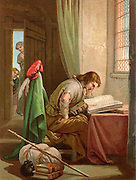 Christian Weeps and Prays. Christian, the pilgrim of the title, reading his bible.  Beside him are his pilgrim's pack, his staff, and pilgrim's flask. Illustration by Henry Courtney Selous (1803-1890) for an 1844 edition of 'The Pilgrim's Progress' by John Bunyan, originally published in 1678.  Chromolithograph.