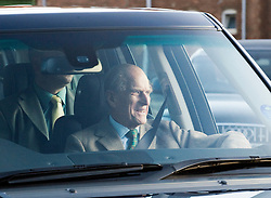 © London News Pictures. 27/12/2011. Papworth Everard, UK.  Prince Philip, Duke of Edinburgh grinning as he leaves  Papworth Hospital in Papworth Everard, Cambridgeshire on December 27th, 2011 following heart surgery. Photo credit : Ben Cawthra/LNP