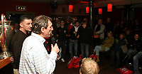 Photo: Paul Thomas.<br /> Photography of Norwegian Liverpool supporters at Anfield. 04/03/2007.<br /> <br /> Ex Liverpool players John Aldridge and Alan Kennedy (White) talk to a group of Norwegin Liverpool Supporters Club members in Aldridges pub, Liverpool.