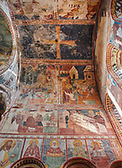 Pictures & images of the Byzantine fresco panels in the Gelati Georgian Orthodox Church of the Virgin, 1106, depicting scenes from the life of Jesus and the Virgin Mary. The medieval Gelati monastic complex near Kutaisi in the Imereti region of western Georgia (country). A UNESCO World Heritage Site. .<br /> <br /> Visit our MEDIEVAL PHOTO COLLECTIONS for more   photos  to download or buy as prints https://funkystock.photoshelter.com/gallery-collection/Medieval-Middle-Ages-Historic-Places-Arcaeological-Sites-Pictures-Images-of/C0000B5ZA54_WD0s<br /> <br /> Visit our REPUBLIC of GEORGIA HISTORIC PLACES PHOTO COLLECTIONS for more photos to browse, download or buy as wall art prints https://funkystock.photoshelter.com/gallery-collection/Pictures-Images-of-Georgia-Country-Historic-Landmark-Places-Museum-Antiquities/C0000c1oD9eVkh9c