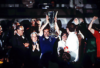 Fotball<br /> England <br /> Foto: Colorsport/Digitalsport<br /> NORWAY ONLY<br /> <br /> Mick Mills with the UEFA Cup. UEFA Cup final, 1981. Ipswich Town v AZ Alkmaar 67.