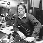 Brad Paul in studio at WERS-FM at Emerson College where he hosted a morning folk and acoustic music program. Brad went on to become a record company executive.
