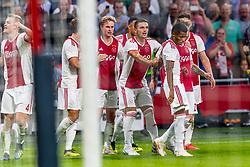 14-08-2018 NED: Champions League AFC Ajax - Standard de Liege, Amsterdam<br /> Third Qualifying Round,  3-0 victory Ajax during the UEFA Champions League match between Ajax v Standard Luik at the Johan Cruijff Arena / Matthijs de Ligt #4 of Ajax scores the 2-0, Daley Blind #17 of Ajax, Klaas Jan Huntelaar #9 of Ajax, Frenkie de Jong #21 of Ajax, Lasse Schone #20 of Ajax, Dusan Tadic #10 of Ajax