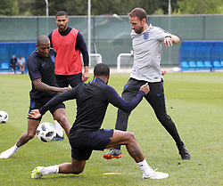 England manager Gareth Southgate (right) during the training session at the Spartak Zelenogorsk Stadium, Repino.