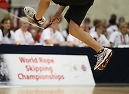 Loughborough, England - Saturday 31 July 2010: Detail shot of a Belgian team member in the single rope freestyle event during the World Rope Skipping Championships held at Loughborough University, England. The championships run over 7 days and comprise junior categories for 12-14 year olds in the World Youth Tournament, 15-17 year olds male and female championships, and any age open championships. In the team competitions, 6 events are judged, the Single Rope Speed, Double Dutch Speed Relay, Single Rope Pair Freestyle, Single Rope Team Freestyle, Double Dutch Single Freestyle and Double Dutch Pair Freestyle. For more information check www.rs2010.org. Picture by Andrew Tobin/Picture It Now.