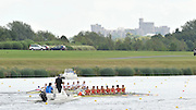 Eton. Great Britain. ESP JM8+ and GER JM8+.  moving down the course passing under the view of the Windsor Castle, competing at the Eton Rowing Centre 2011 FISA Junior  World Rowing Championships. Dorney Lake, Nr Windsor. Friday, 05/08/2011  [Mandatory credit: Peter Spurrier Intersport Images]