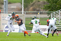 KELOWNA, BC - SEPTEMBER 22: Christian Horner #57 of Okanagan Sun makes his way around Brenden Ruchkall #27 to tackle Brandon Poulin #2 of Valley Huskers at the Apple Bowl on September 22, 2019 in Kelowna, Canada. (Photo by Marissa Baecker/Shoot the Breeze)