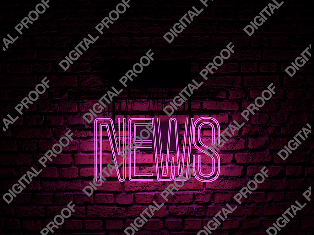 Fake News Neon Sign pink color news on fake off over a red brick wall at dark - Illustration Computer Rendered - Illustration