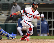 CHICAGO - APRIL 11:  Adam Eaton #12 of the Chicago White Sox hits a two-run home run in the eighth inning against the Kansas City Royals on April 11, 2021 at Guaranteed Rate Field in Chicago, Illinois.  (Photo by Ron Vesely) Subject:  Adam Eaton