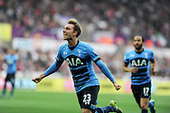 Christian Eriksen  of Tottenham celebrates after he scores his teams 2nd goal to equalise at 2-2. . Barclays premier league match, Swansea city v Tottenham Hotspur at the Liberty Stadium in Swansea, South Wales on Sunday 4th October 2015.<br /> pic by  Andrew Orchard, Andrew Orchard sports photography.